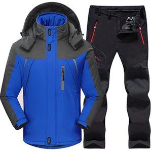 Outdoor Winter Hiking Ski Jacket Suits Men's Windproof Waterproof Thermal Camping Skiing Fleece Jacket + Pants Sportswear sets