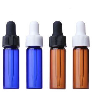 CLEAR AMBER Blue Verre 4 ml rechargeable bouteilles de verre vides d'aromathérapie Conteneur d'oeil Bouton d'huile essentielle Bouteille d'huile pour voyage OWD3170