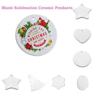 DHL Blank Sublimation Ceramic Pendants Creative Christmas Ornaments DIY Heat Transfer Printing Ceramic Ornament Heart Round Pendants