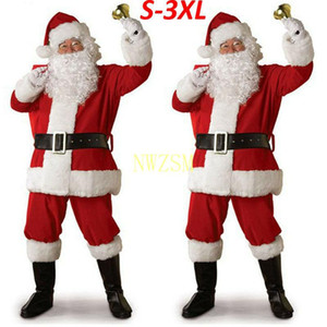 Christmas Santa Claus Costume Cosplay Santa Claus Clothes Fancy Dress In Christmas Men 5pcs lot Costume Suit For Adults hot