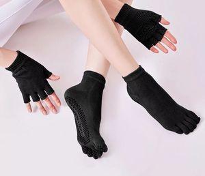 Donne traspiranti antiscivolo yoga calzini guanti pilates guanti in cotone antiscivolo cinque dito fitness five toe grip sport calzini set