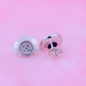 Silver stud earrings with cubic zirconia fits for pandora jewelry 925 sterling silver charms for women 2016 Christmas gift 1pair lot