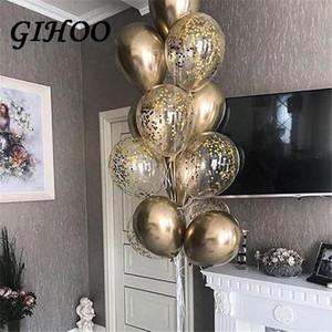GIHOO 9pcs 12 pulgadas de oro globos confeti globos de látex feliz cumpleaños boda día de san valentín fiesta globo decoración suministros