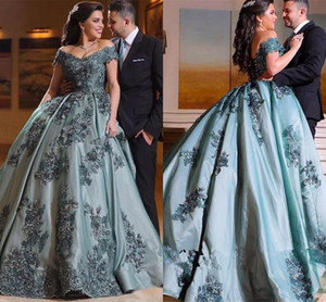 2021 Ball Gown Arabic Dubai Vintage Prom Dresses Sexy Off Shoulder Appliques Lace Long Evening Gowns Vestidos De Fiesta Formal Wear AL7827