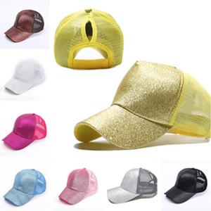 Mujeres de verano Ponycap brillo desordenado alto bollo caballo caballo de caballo sombreros ajustable malla béisbol sombrero diseñador bola sombreros playa visión deportiva 2021 h2304
