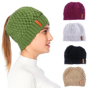 Women Chunky Crochet Knitted Stretch Beanie Hat High Messy Bun Solid Color Winter Holey Skull Cap Ear Warmer
