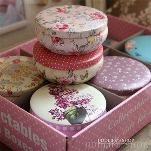 Free Shipping!12pc box High quality flower Metal tea caddy circle candy handmade soap box Chocolate Storage Case Z1123