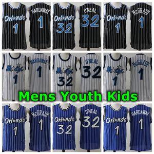 Retro Mens Youth Kids 1 Anferrnee Hardaway 32 1 McGrady Jersey Authentique cousu Retro Classic Mesh Orlandos Basketball Jersey