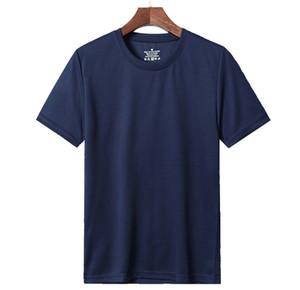 T-shirt de secagem rápida de mangas curtas T-shirt dos homens de esportes maciços de cor sólida dos homens