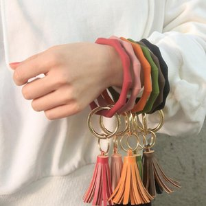 Silicone Wristlet Keychain with Leather Tassel Bangle Keyring Large Circle Key Ring Faced Bracelet Holder For Women Girls DHD2820