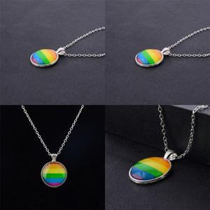 Erkek Kadın Eşcinsel Gurur Gerdanlık Kolye Gökkuşağı Bayrağı Lezbiyen LGBT Aşk Aşk Gurur Cam Kolye Kolye Benzersiz Takı 19 N2