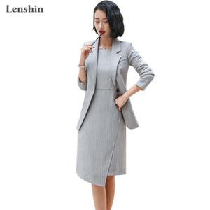 Lenshin 2 Piece Set Formal Striped Jacket Dress Suit Office Lady Women Business Blazer and Sleeveless Dress Sets