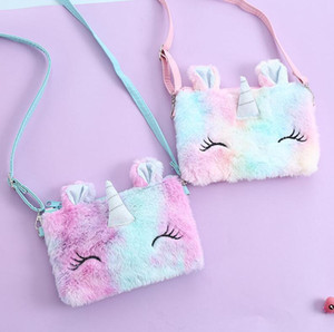Niños Dibujos animados Unicornio Peluche Bolsa de Pecho Fuzzy Zipper Fanny Pack Crossbody Bags Bolsos Monedero Billet Baby Girls Messenger Bag E121503