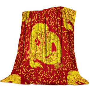 Chinese Dragon And Fire Red Flannel Blanket Portable Soft Throw Blanket Warm Microfiber Blankets for Beds