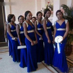 2021 South African Mermaid Wedding Party Dress for women's Crystals Beaded Chiffon Black Women's Bridesmaid Dresses