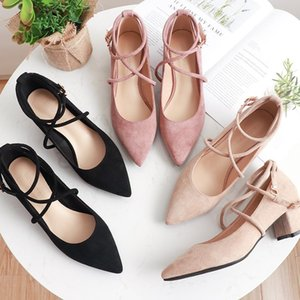 Fashion Pointed Heels Mary Jane Shoes Black Heels Low Heel Shoes Dress Women Sexy Zapatos De Tacon Elegantes Para Mujer
