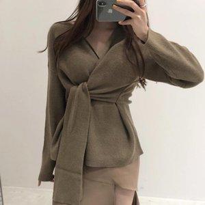 Comelsexy 2020 Herbst Korean Chic Lazy Style Thaze Blue V-Ausschnitt Gürtel Taille Lose Langarm Strickpullover Für Frauen