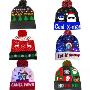 DHL Shipping LED Christmas Hats Adult Christmas Knitted Cap Plush Love Pattern Fluffy-Plush Pompom Santa Party Hat Kimter-X875FZ