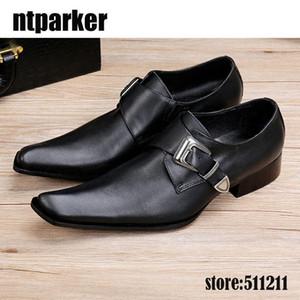 2020 Hot Black Genuine Leather Shoes Men Square Toe Men Dress Oxfords Shoes Slip-on Leather Business Party Shoes, EU38-46!