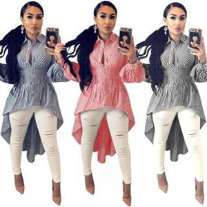 여성 블라우스 스윙 스커트 패션 트렌드 긴 소매 줄무늬 길이 셔츠 드레스 디자이너 여성 봄 카디건 버튼 불규칙한 스커트