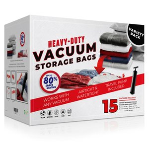 15 Pack Vacuum Space Storage Saver Bags and Travel Hand Pump to Organize, Store