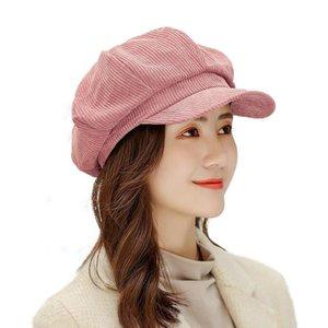 Cokk Autumn Winter New Corduroy Octagonal Hat Female Stripe Newsboy Cap Beret Hats For Women Korean Retro Vintage Bonnet Swy sqcWlC