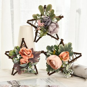 Rattans Display Window Ornament Home Decoration Mini Artificial Flower Five Pointed Star Rattan Circle Pendant Hot Sale 9gl J2