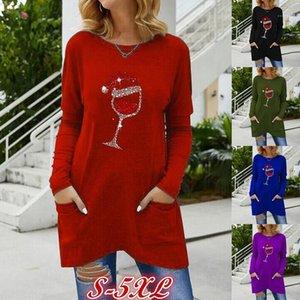 Tshirts Christmas Glass Print Tees Crew Neck Long Sleeve Tops New Ladies Clothing Spring Autumn Womens