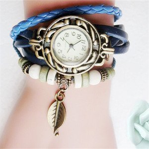 Retro Quartz Bracelet Watch Leaf Pendant PU Leather Strap Wrist Watches Bangle Vintage Weave Wrap Wristwatches Women Girls Knit Watces Xmas