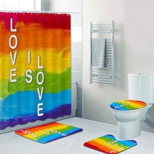 Rainbow Pride Gay Flag Shower Curtain Bath Mat Bathroom Set Toilet Carpet Floor Rug Gay Pride Lesbian Peace LGBT Home Decor Z1127