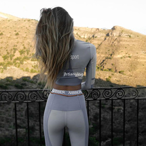 Women Fitness Two Pieces Set Long Sleeve Crop Top Letters Print Elastic Skinny Leggings Sportswear Tracksuit Slim Outfit Q