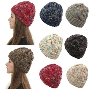 fashion Trendy curled colored woolen cap winter warm beanie soft elastic knitted cap For men and women designers beanie hats