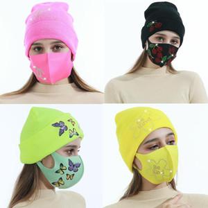 Gorros de inverno bonés com máscara facial esporte de malha de cristal festa chapéus engrossar quente casual borboleta cópia crânio caps máscaras hwa3411
