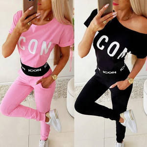 Casual Letter Printed Short Sleeve Women Pullover Elastic Waist Woman Pants 2 Piece Outfits for Women Womens Tracksuit Set