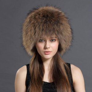 Winter 100% Natural Real Raccoon Fur Hat With Good Elastic Russian Real Fur Ear Flaps Hat Women Knitted Cap Wholesale