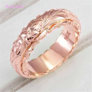 Yunjin New 14K Gold Plated Floating Carved Rose Flower Ring Jewelry Tail Ring for Women