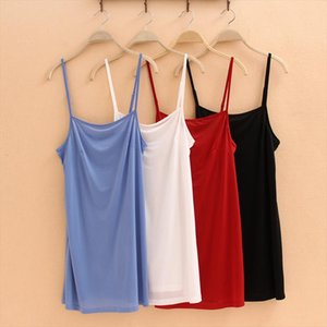Women lining Camisole Solid Sleeveless Tank TOP Vest Spaghetti Strap Under Slip Tee Shirt Mini Dress vestidos lined beach dress