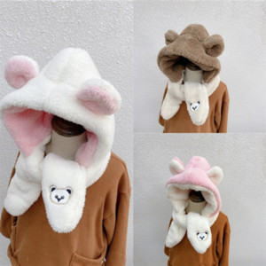 aIU07 Fashion Designers scarf Men High quality New rainbow winter Ear Protection Cap New womens Bear Embroidery scarf luxurys shawl woman