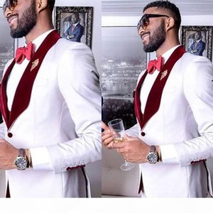 White Formal Party Mens Suits for Wedding 2 Piece Groom Suits Wine Red Shawl Lapel Slim Fit Custom Man Wedding Tuxedo Suit