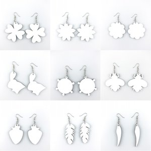 Sublimation Blank Earrings Thermal Transfer Printing DIY Star Heart Flower Leaf Shaped DIY Earring Gift Party Favors