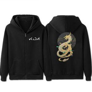 LOL KDA K / DA Akali Cosplay camisola preta masculino com capuz Hip Hop Outono Inverno Zipper Hoodie Mens Pullover Casual Jacket Ásia Tamanho C1116
