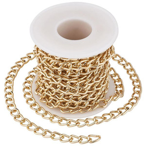 Twisted Curb Aluminium Chains Silver Golden for Necklaces Bracelets Jewelry Making Unwelded 5m roll N6F6