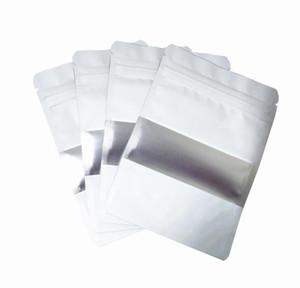100pcs lot Matte White Aluminum Foil Food Doypack Zip Lock Package Bag With Window Reclosable Mylar Zipper Pouches F wmtszP mywjqq