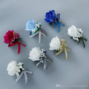 White Red Man corsage for Groom groomsman silk rose flower Wedding suit Boutonnieres accessories pin brooch decoration supplies