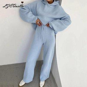 Lzequella Bayan 2 Parça Set Gömlek Pantolon Eşofman Tişörtü 2020 Sonbahar Kış Boy Hoodies Katı Geniş Bacak Pantolon
