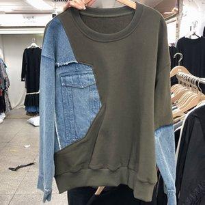 [EWQ] 2020 Autumn Winter New Female Vintage Patchwork Denim Round Neck Minimalist Long-sleeved Pullover Sweatshirts Tops 8Q356 Z1214