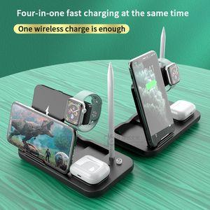 Q1 Wireless Ladegerät Stand 4 in 1 Wireless Fast Charging 15w Station Dock mit Typ-C USB für Apple Watch Airpods Viele Handys