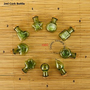 good qualtity20pcs Promotion Glass Green 2ml Mini Small Corks Bottles Refillable Vials Stoppers Decorative Jar Containersfor pendants