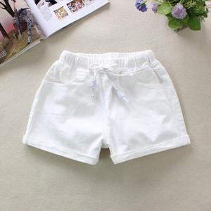 2020 Summer White Womens Denim Shorts Elastic Waist Shorts 100% Cotton Pockets England Style Solid Straight Denim 9261