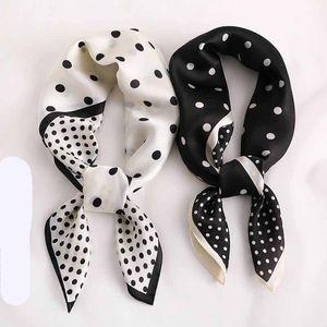 Fashion Dot Print Kerchief Hair Scarf For Women Silk Satin Bag Scarfs Female Small Shawls and Wraps 70cm Neck Scarves For Ladies